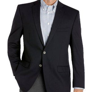 CALVIN KLEIN Navy Blue 2 Button Wool Blend Blazer